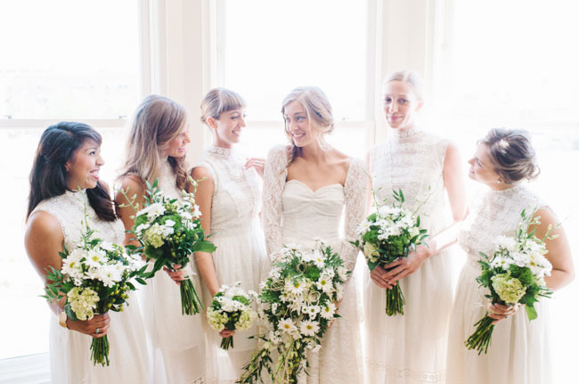 eclectically simple bridesmaids