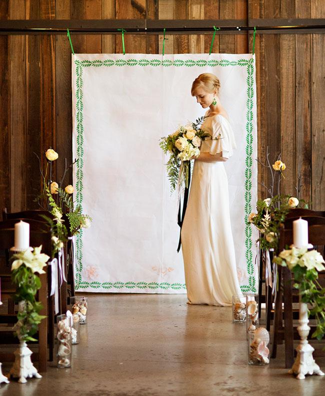Wedding Altar Frame: Emerald Botanical Beach Wedding Inspiration