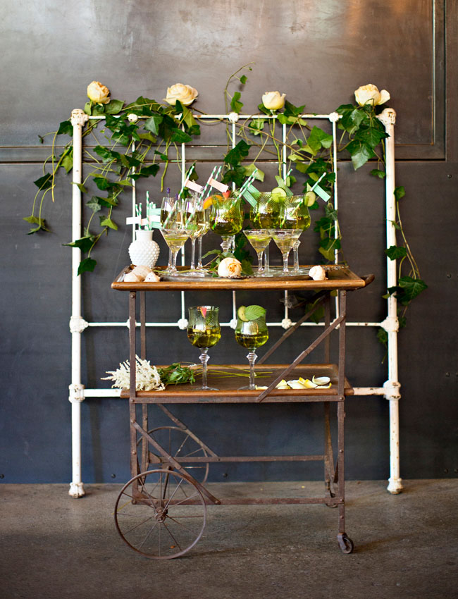 emerald botanical bar cart