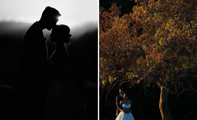 sunset bride and grooms