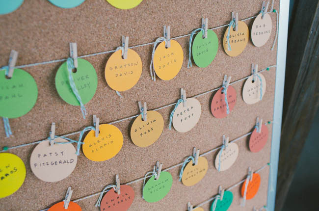 colorful tag escort cards