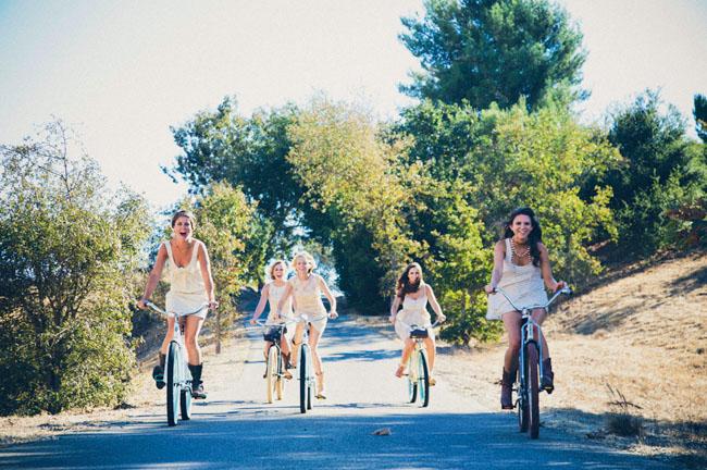 bridesmaids on bikes