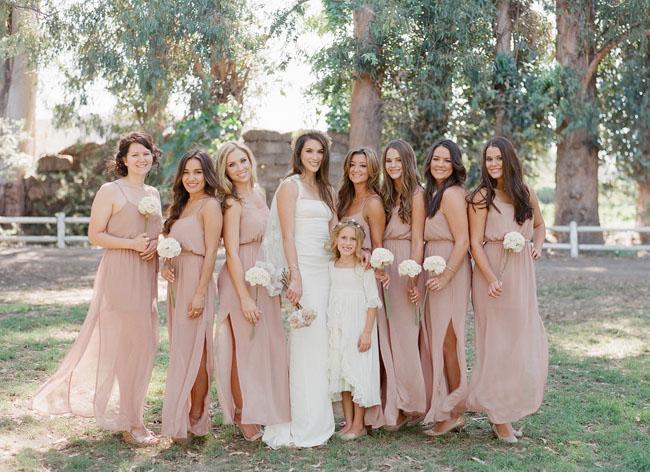 romantic pink bridesmaids