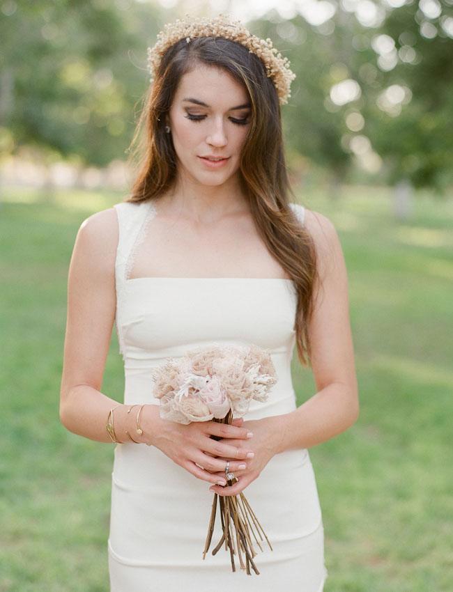 romantic flower crown bride