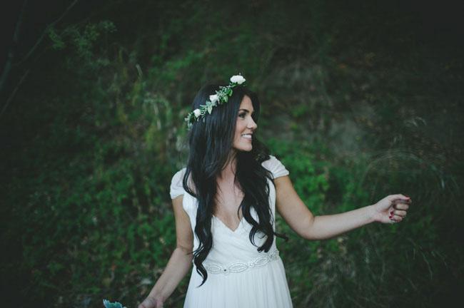 cayucos flower crown bride