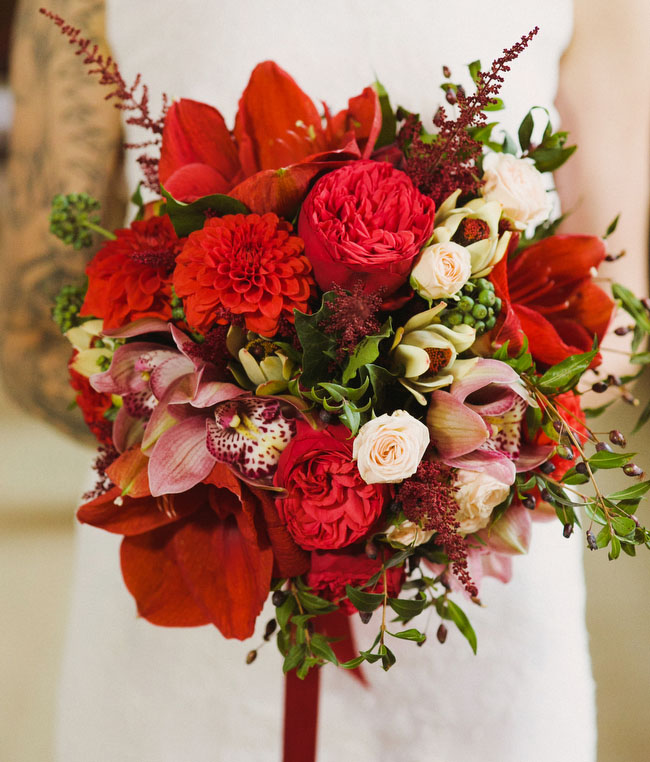 Christmas Wedding Bouquets And Flowers: Dramatic + Theatrical Christmas Wedding Inspiration