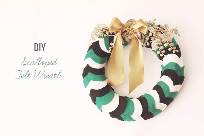 DIY Scalloped Felt Wreath
