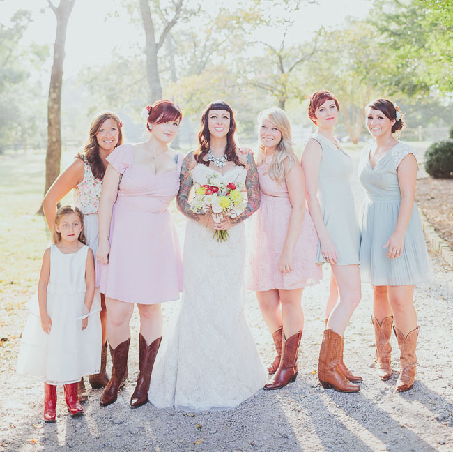 summery mixed bridesmaids