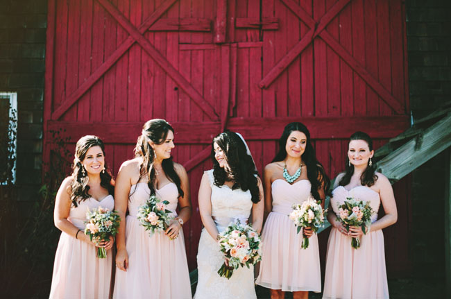 pink farm bridesmaids