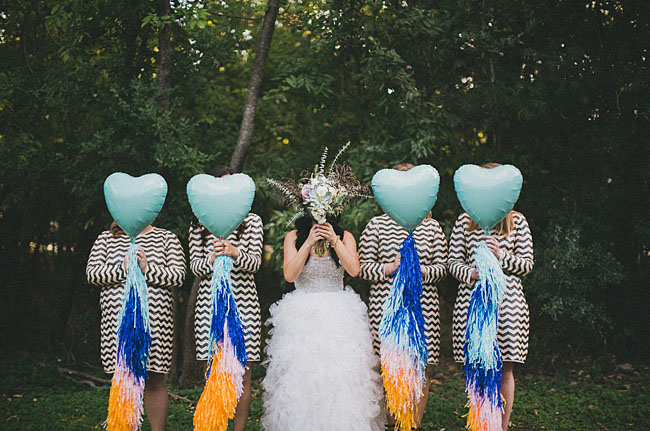 bridesmaids with balloons
