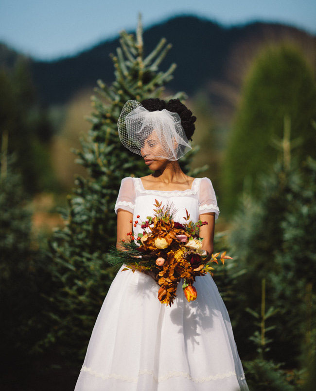 christmas tree farm bride