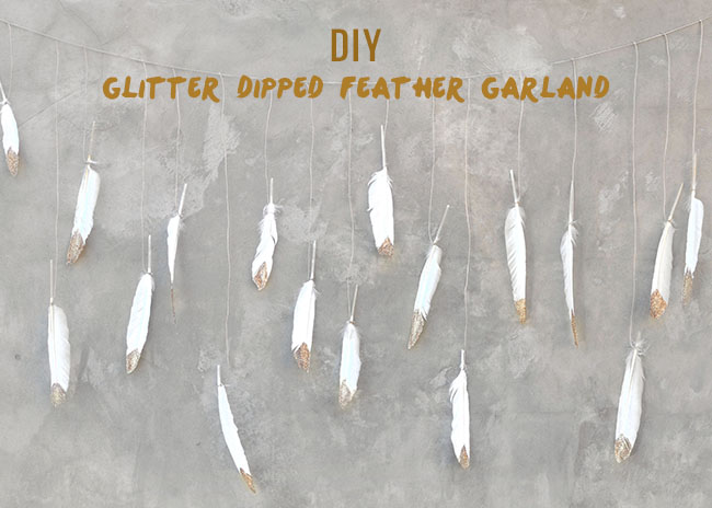DIY Glitter Dipped Feather Garland