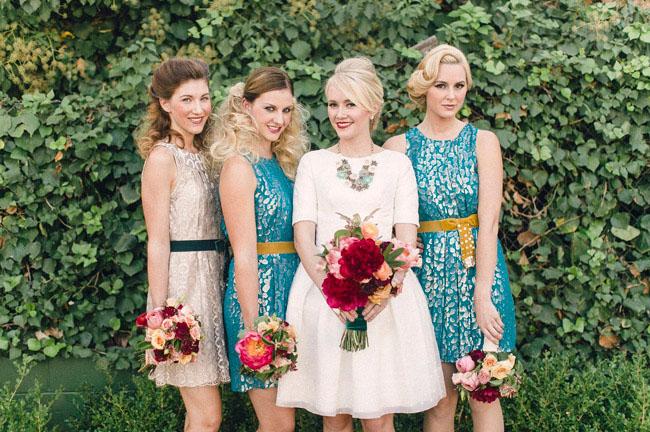 retro mod bridesmaids