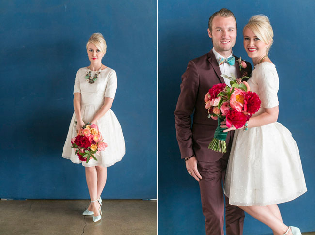 retro mod bride and groom