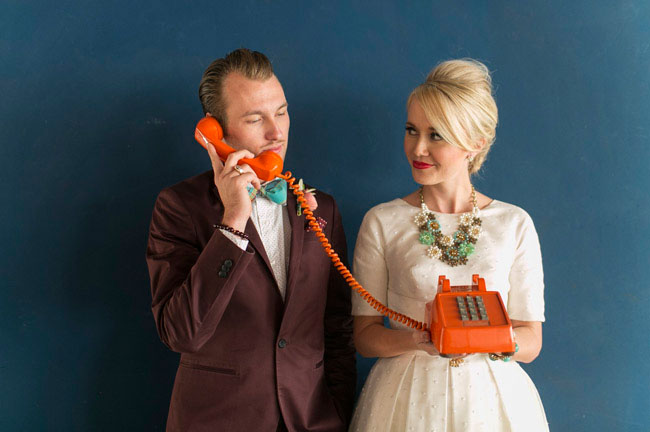 retro mod bride and groom