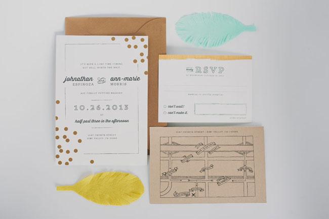 felt feather wedding invitation