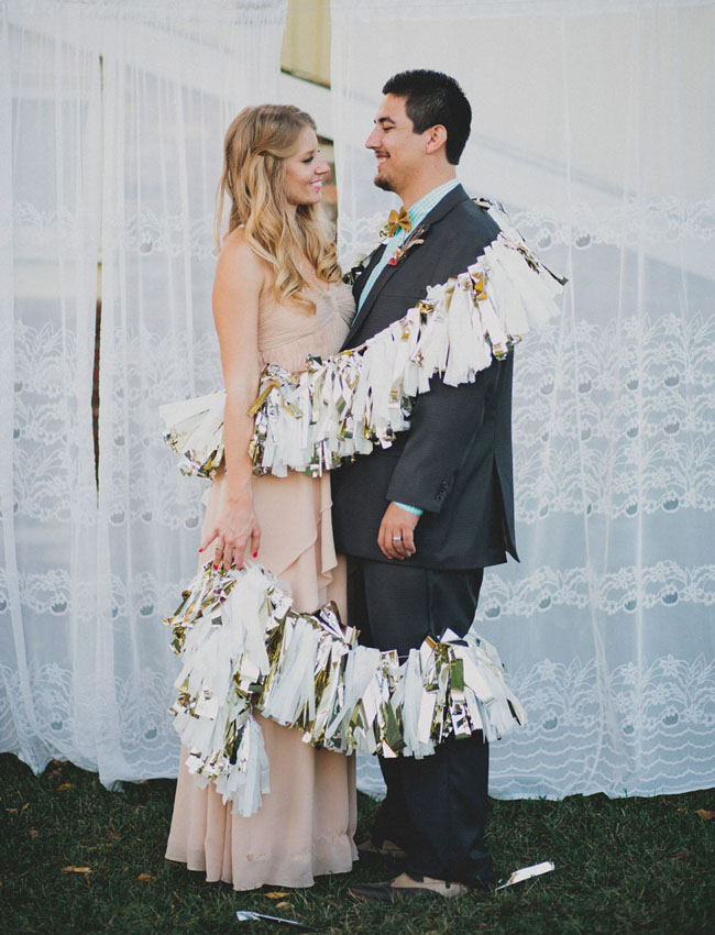 bride and groom with tassel