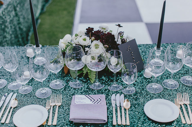 green sequin tablecloth
