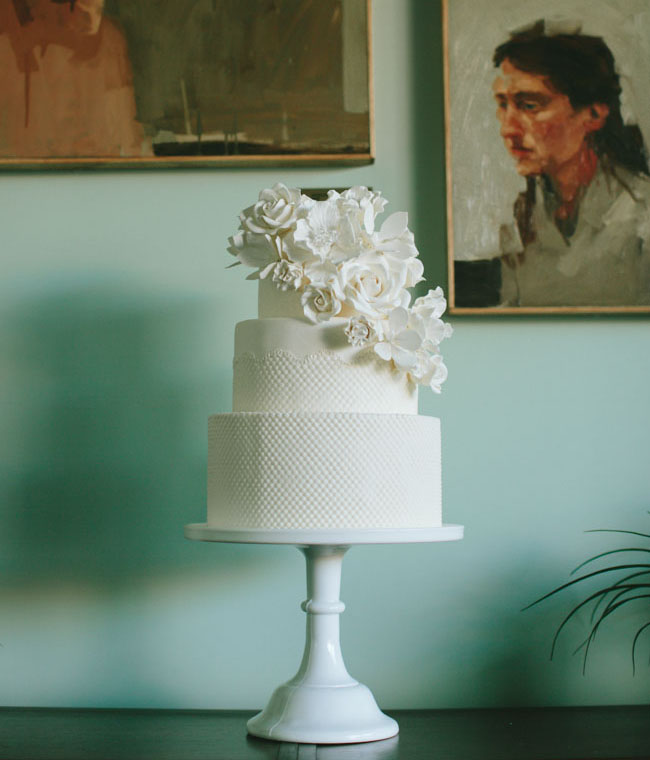 all white texture flower cake