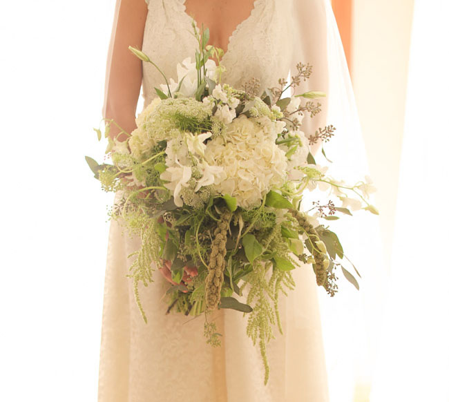 big whimsical green and white bouquet