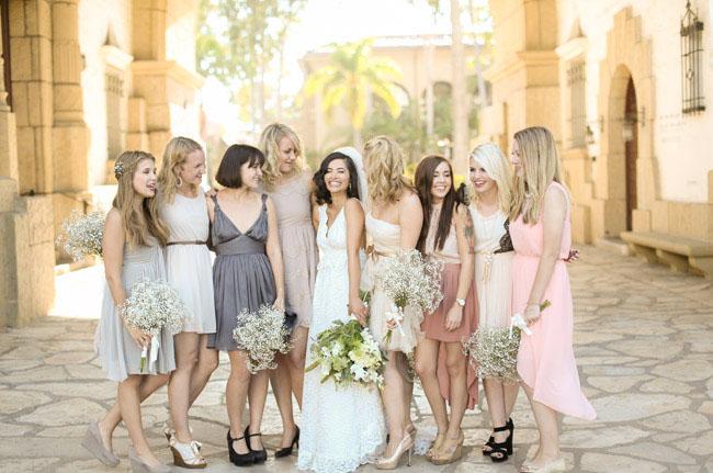 elopement mixed dress bridesmaids