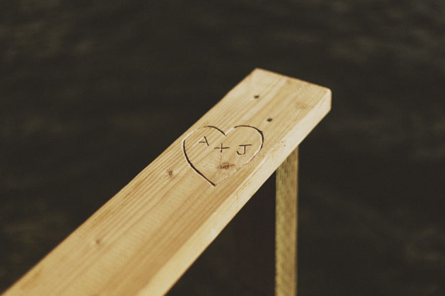 heart engraved in wood