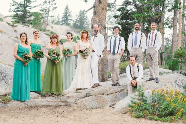 california rustic wedding party
