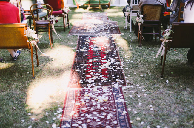 flower petals and rug aisle