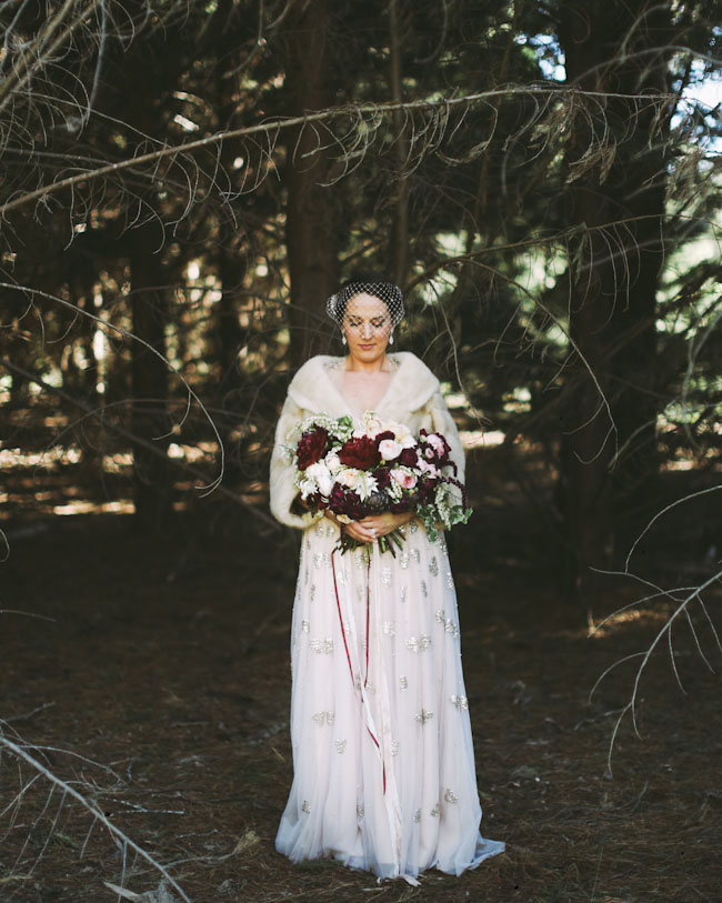 romantic fur wrap bride