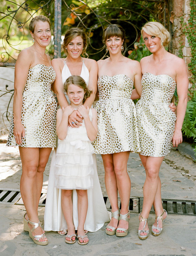 gold dotted dress bridesmaids