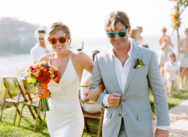bride and groom sunglasses