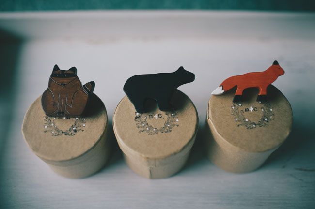 wooden animal boutonnieres