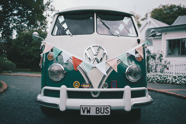 vw bus with bunting