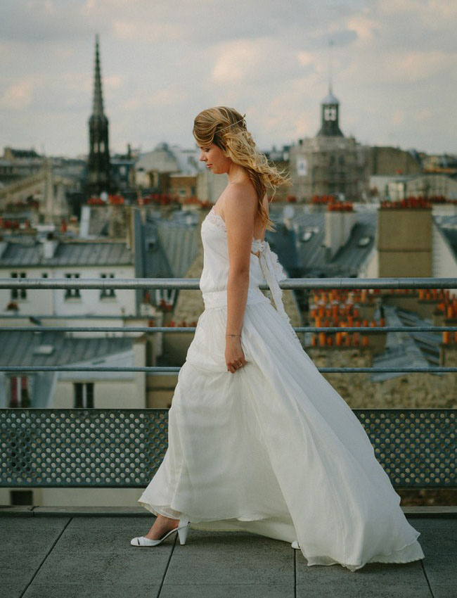 paris rooftop bride