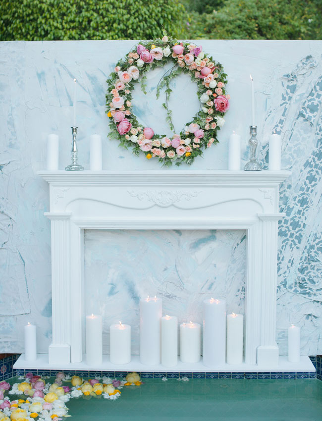 white mantle and flower wreath