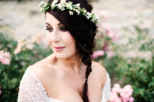 tuscany flower crown bride