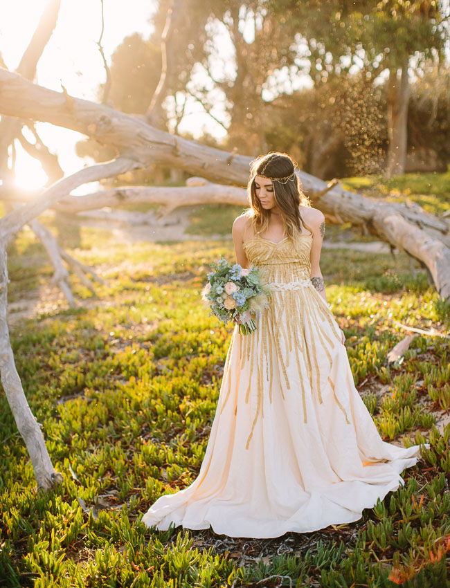 gold beach wedding dress