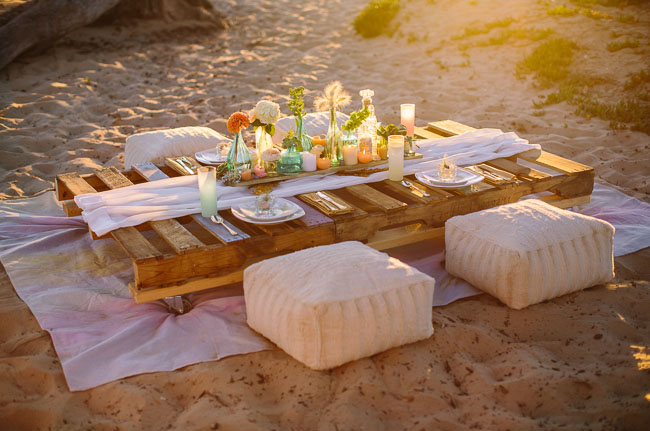 watercolor beach table