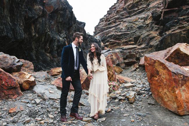 whimsical rocks bridal shoot