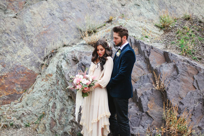 whimsical rocks bridal shoot