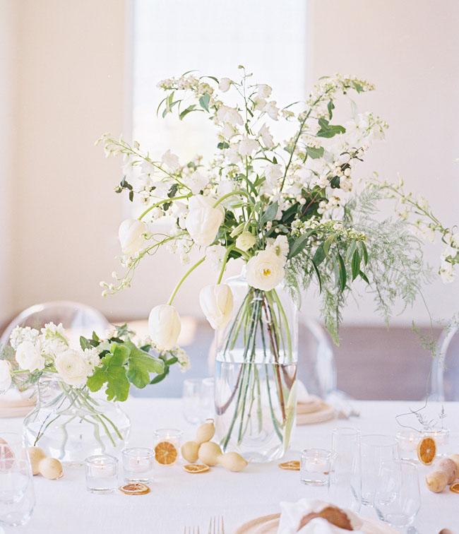 white organic centerpiece
