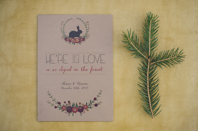 winter elopement invitation