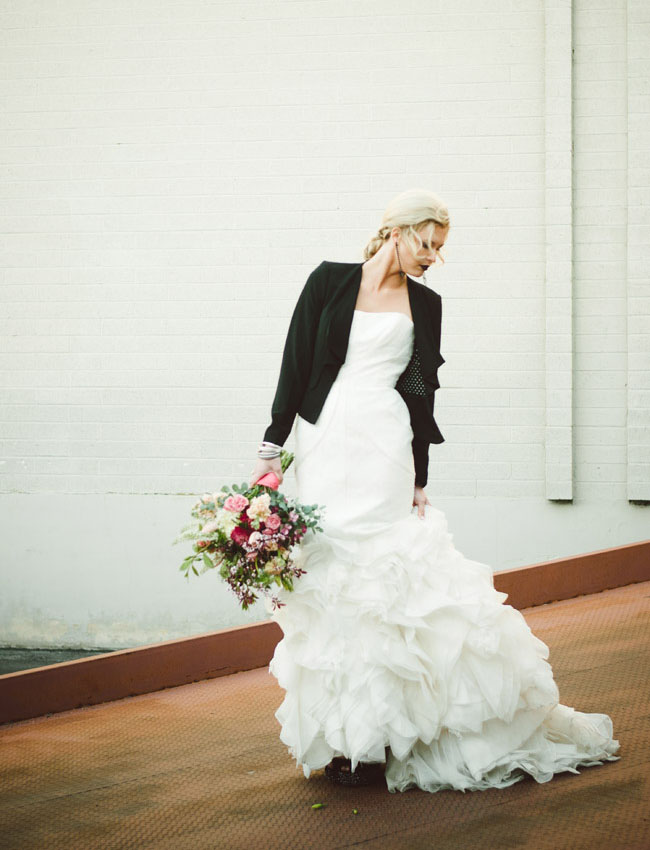 black and white styled bride