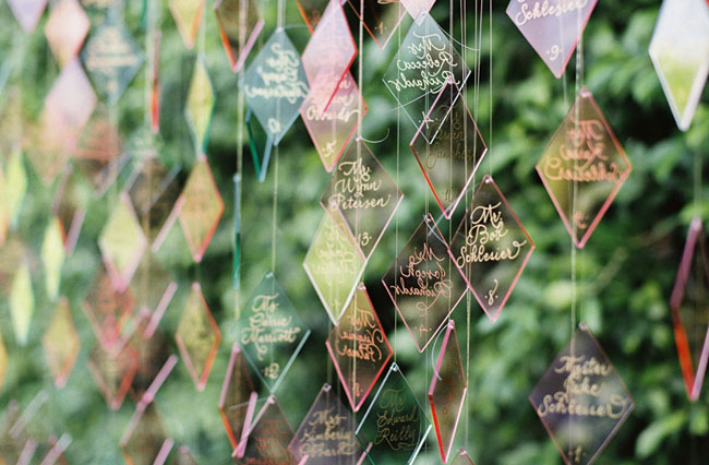 lucite triangle escort cards