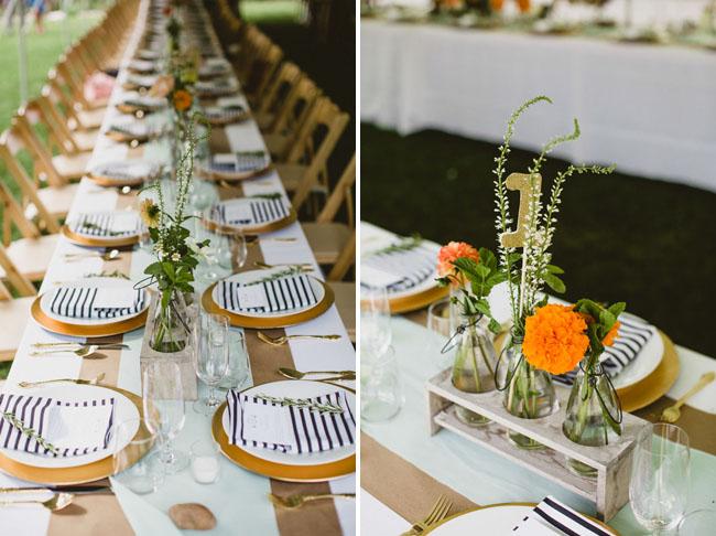 Playful colorado farm wedding molly jeff black and white stripe napkins mightylinksfo