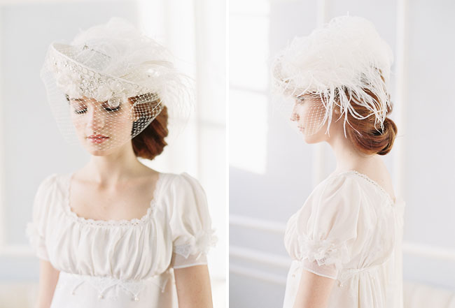 feathery bridal hat