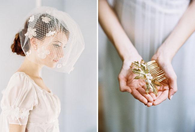 flower birdcage veil