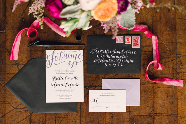 black calligraphy invitation