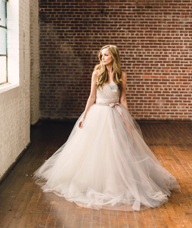 flowy tulle wedding dress