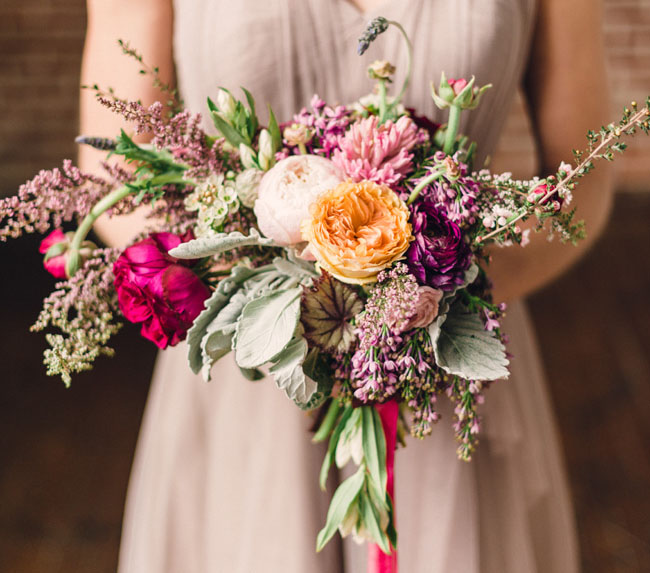 whimsical peach bridesmaid bouquet
